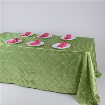 Apple Green  90 inch x 156 inch  Pintuck Satin Tablecloth- Ribbons Cheap