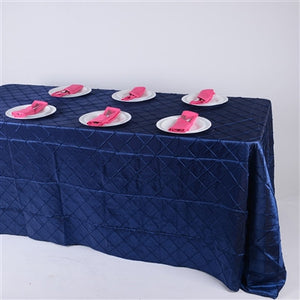 Navy  90 inch x 132 inch Pintuck Satin Tablecloth- Ribbons Cheap