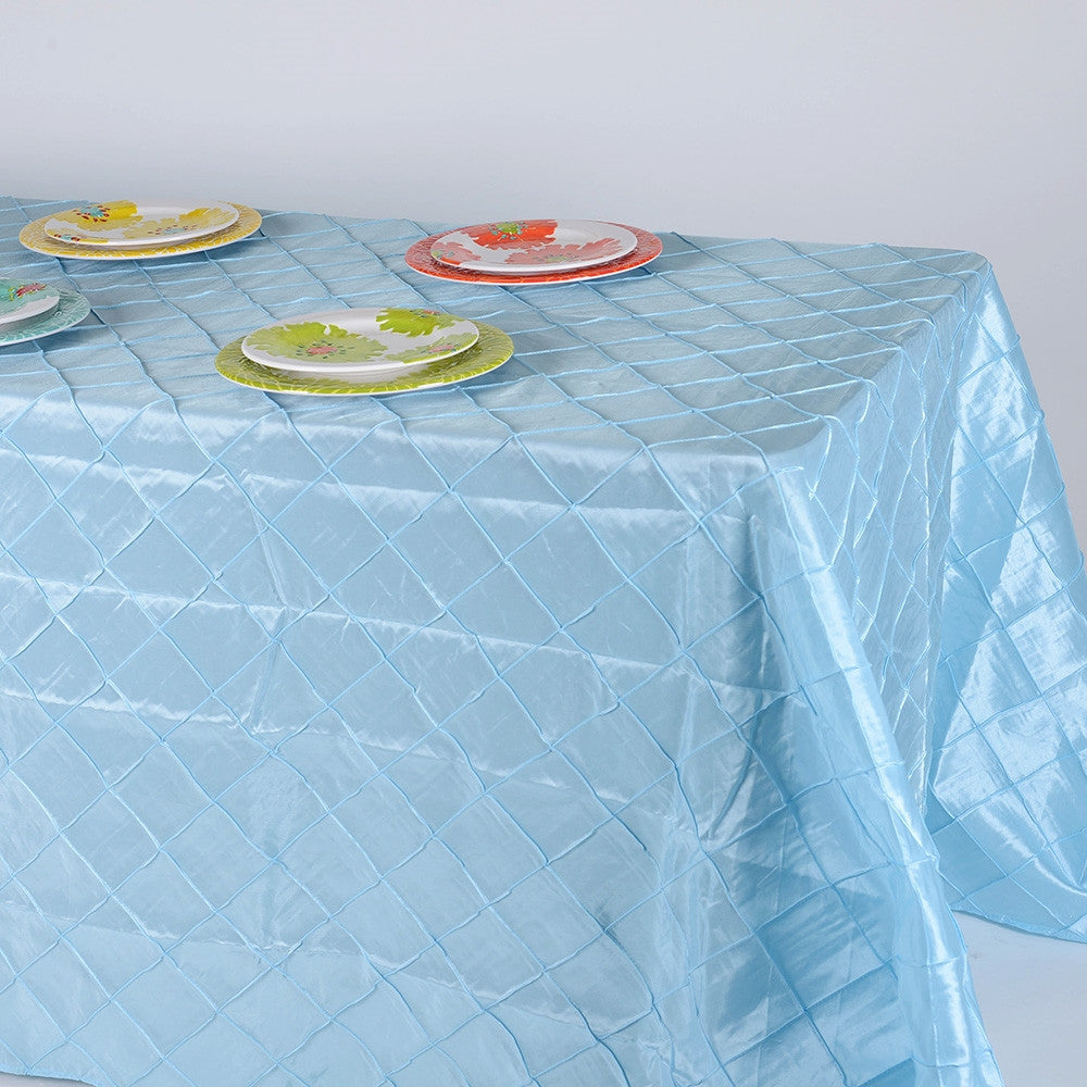 Light Blue 90 inch x 156 inch  Pintuck Satin Tablecloth- Ribbons Cheap