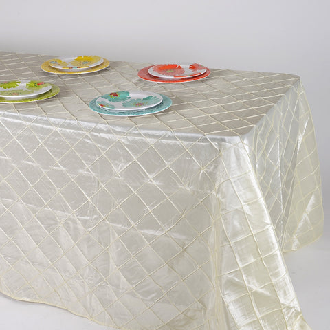 Ivory  90 inch x 132 inch Pintuck Satin Tablecloth- Ribbons Cheap