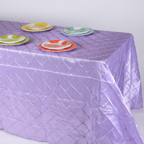 Lavender  90 inch x 132 inch Pintuck Satin Tablecloth- Ribbons Cheap
