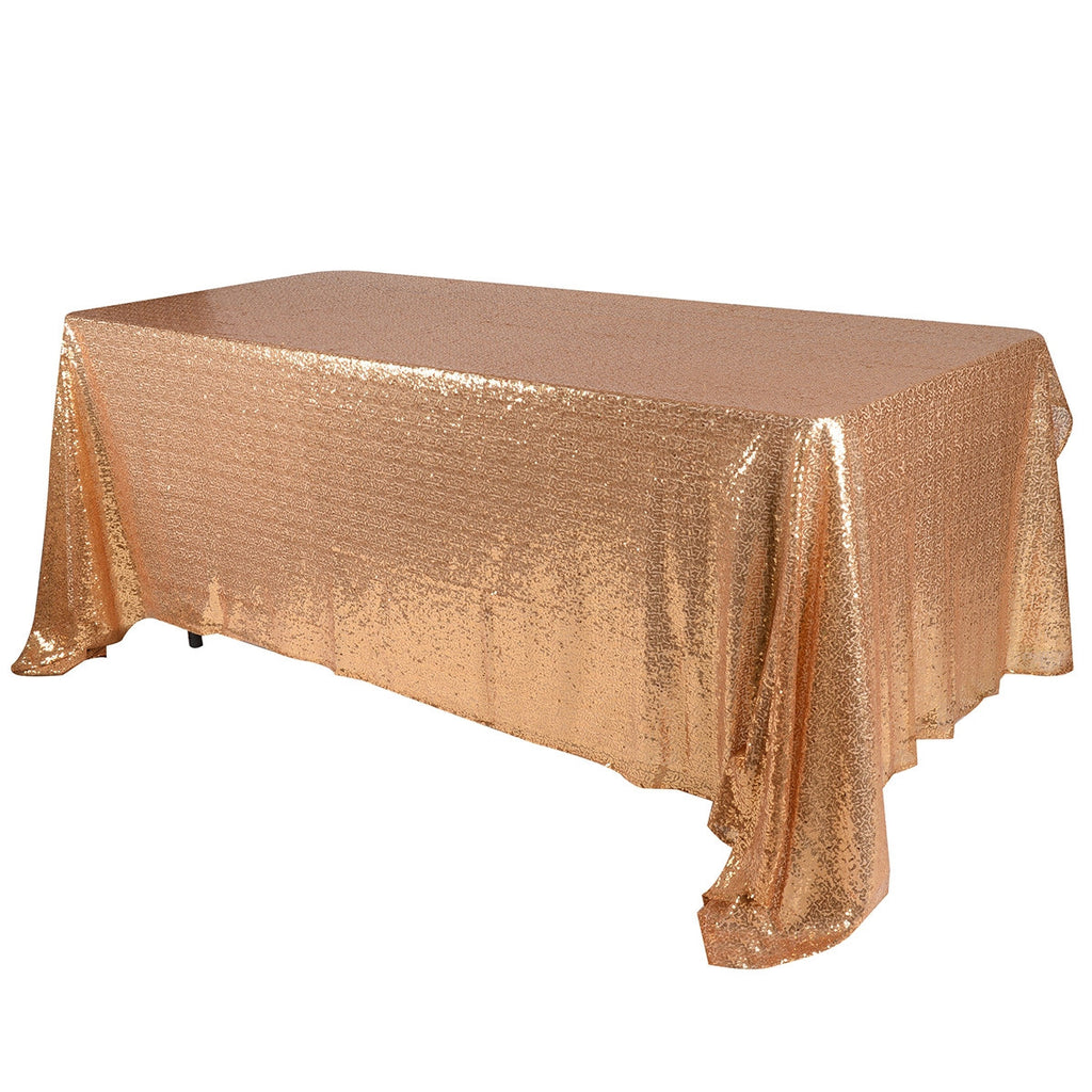 Gold 90x132 inch Rectangular Duchess Sequin Tablecloth- Ribbons Cheap