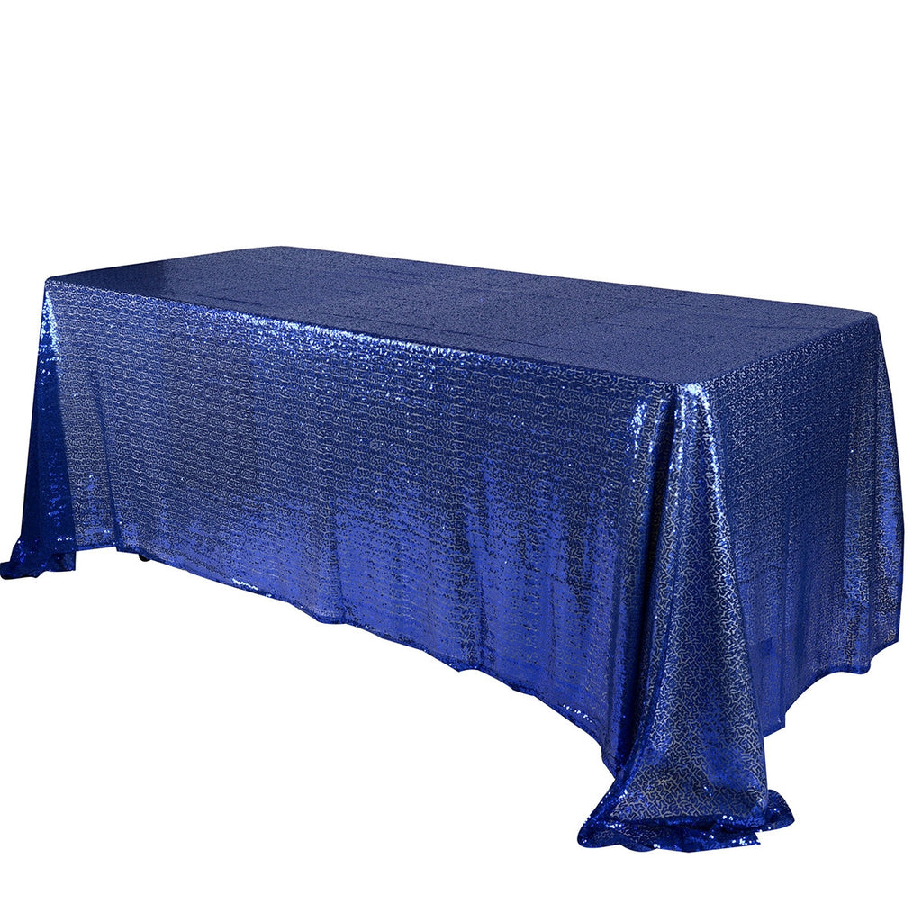 Navy Blue 90x132 inch Rectangular Duchess Sequin Tablecloth- Ribbons Cheap