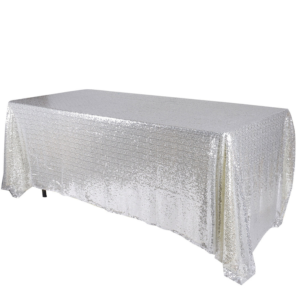 Silver 90x132 inch Rectangular Duchess Sequin Tablecloth- Ribbons Cheap