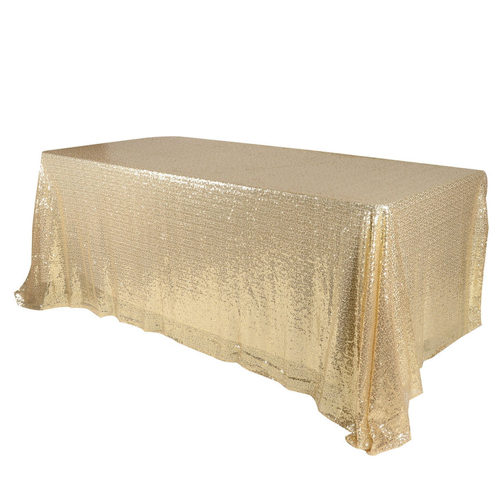 Champagne 90 x 156 inch Rectangular Duchess Sequin Tablecloth