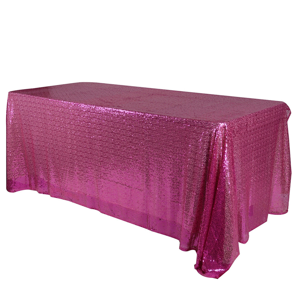 Fuchsia 90x156 inch Rectangular Duchess Sequin Tablecloth- Ribbons Cheap