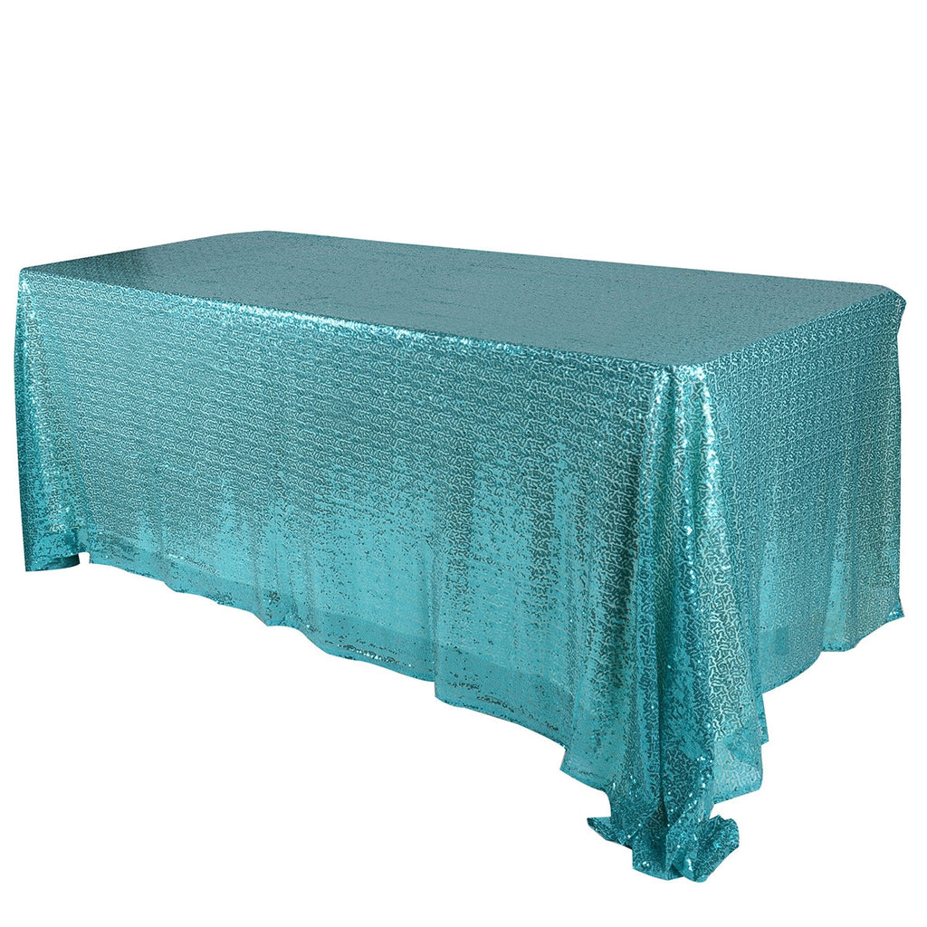 Turquoise 90x156 inch Rectangular Duchess Sequin Tablecloth- Ribbons Cheap