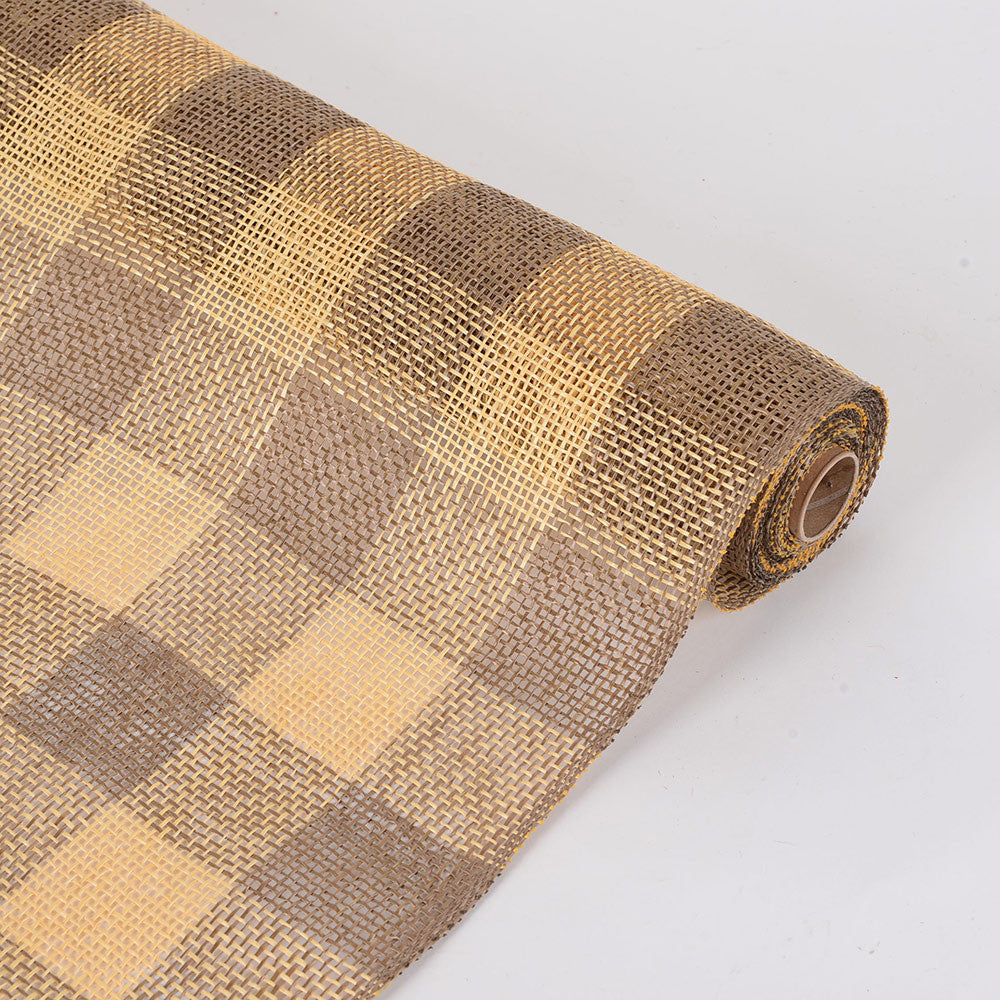 Faux Burlap Plaid Mesh Gold ( 21 inch x 5 Yards ) -