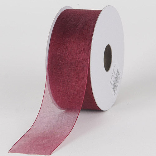 Sheer Organza Ribbon Burgundy ( W: 3/8 inch | L: 25 Yards ) -