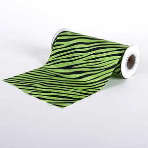 Animal Printed Satin Spool Apple Green ( W: 6 inch | L: 10 Yards ) - Ribbons Cheap