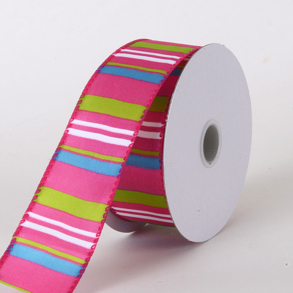 Multi Striped Satin Ribbon Fuchsia ( W: 1-1/2 inch | L: 10 Yards ) -