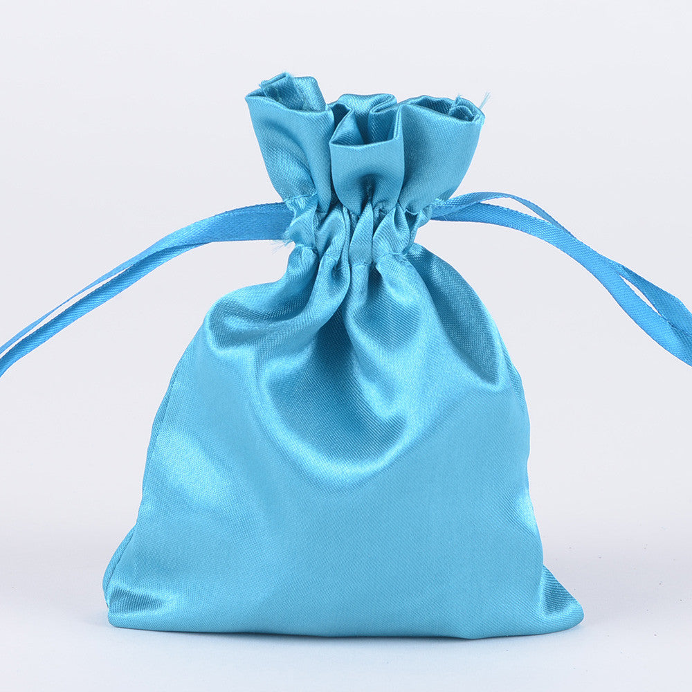 Satin Bags Turquoise ( 3x4 Inch - 10 Bags ) -