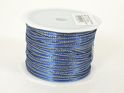 Satin Ribbon with Gold Edge 1/8 Inch Royal Blue ( W: 1/8 inch | L: 100 Yards ) -