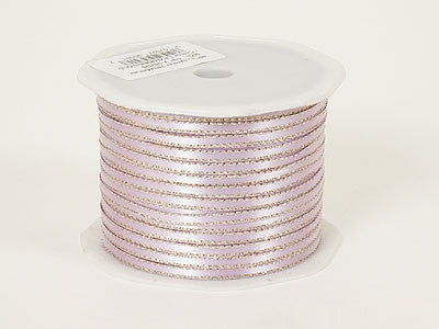 Satin Ribbon with Gold Edge 1/8 Inch Lavender with Gold Edge ( W: 1/8 inch | L: 100 Yards )