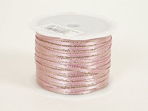 Satin Ribbon with Gold Edge 1/8 Inch Mauve with Gold ( W: 1/8 inch | L: 100 Yards ) -