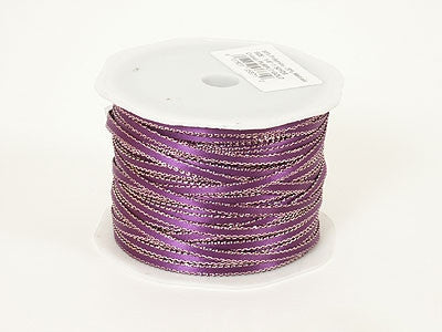Satin Ribbon with Gold Edge 1/8 Inch Purple ( W: 1/8 inch | L: 100 Yards )