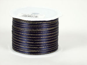 Satin Ribbon with Gold Edge 1/8 Inch Navy Blue with Gold Edge ( W: 1/8 inch | L: 100 Yards ) -