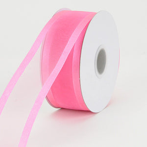 Organza Ribbon Two Striped Satin Edge Hot Pink ( W: 3/8 inch | L: 25 Yards ) -