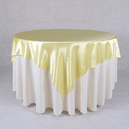 Baby Maize  72 x 72 Satin Table Overlays  ( 72 x 72 Inch )- Ribbons Cheap