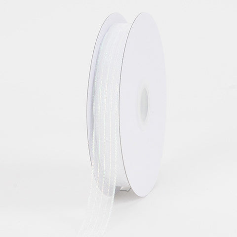 Corsage Ribbon White Irridescent Line ( W: 3/8 inch | L: 50 Yards ) -
