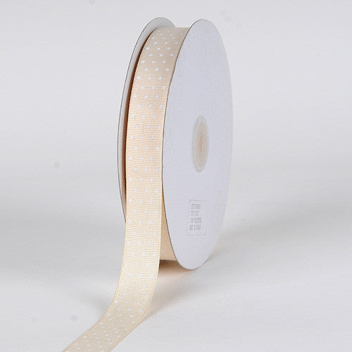 Grosgrain Ribbon Swiss Dot Ivory with White Dots ( W: 3/8 inch | L: 50 Yards )