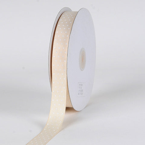 Grosgrain Ribbon Swiss Dot Ivory with White Dots ( W: 3/8 inch | L: 50 Yards ) -
