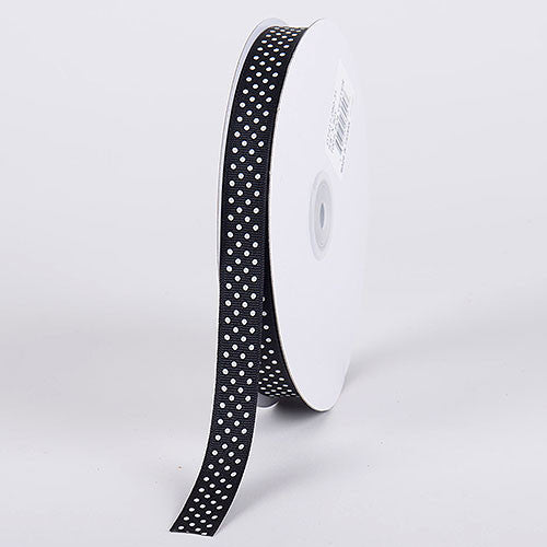 Grosgrain Ribbon Swiss Dot Black with White Dots ( W: 7/8 inch | L: 50 Yards ) -