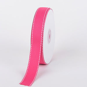 Grosgrain Ribbon Stitch Design Fuchsia ( 7/8 inch | 25 Yards ) -