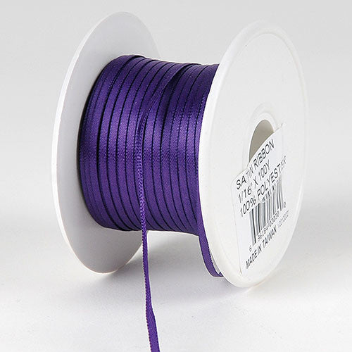 Satin Ribbon 1/16 x 100 Yards Purple ( W: 1/16 inch | L: 100 Yards )