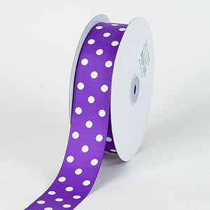 Grosgrain Ribbon Polka Dot Purple with White Dots ( W: 3/8 inch | L: 50 Yards ) -