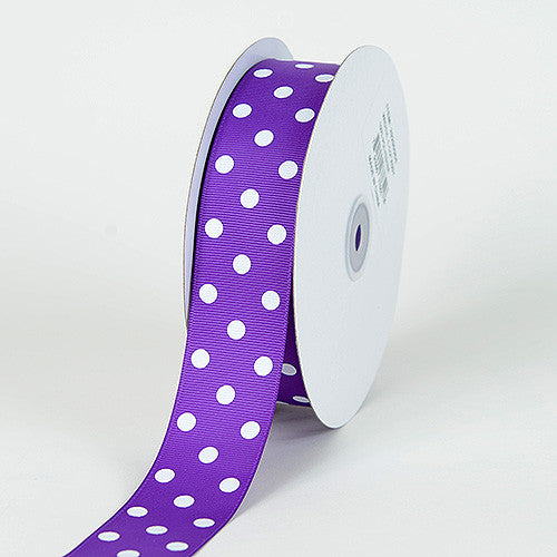 Grosgrain Ribbon Polka Dot Purple with White Dots ( W: 3/8 inch | L: 50 Yards )