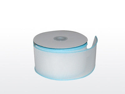 Organza Ribbon Bridal White With Blue ( W: 2-1/4 inch | L: 25 Yards )
