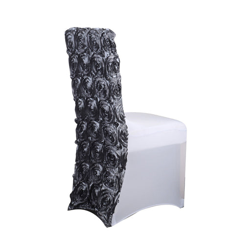"Satin Rosette Spandex Chair Cover 15"" Wide x 17"" Tall - Silver"