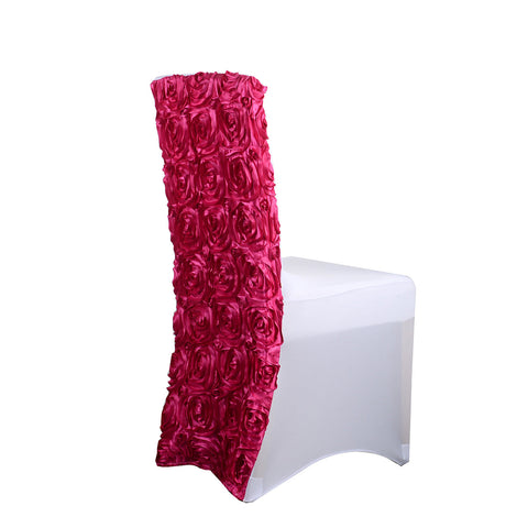 "Rosette Spandex Chair Cover (15"" wide x 17"" tall) - Fuchsia"