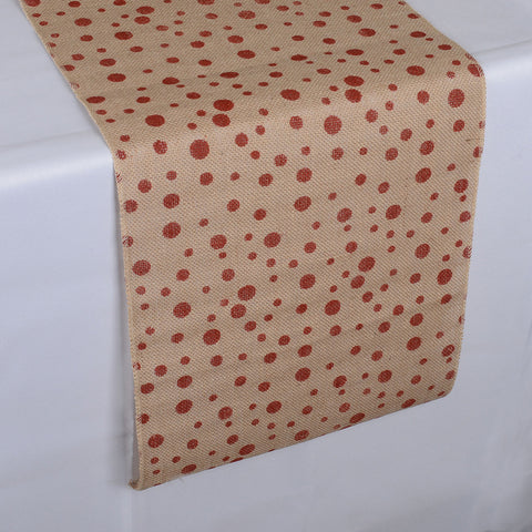 Burlap Table Runner  14 Inch X 108 Inches with Red Dots