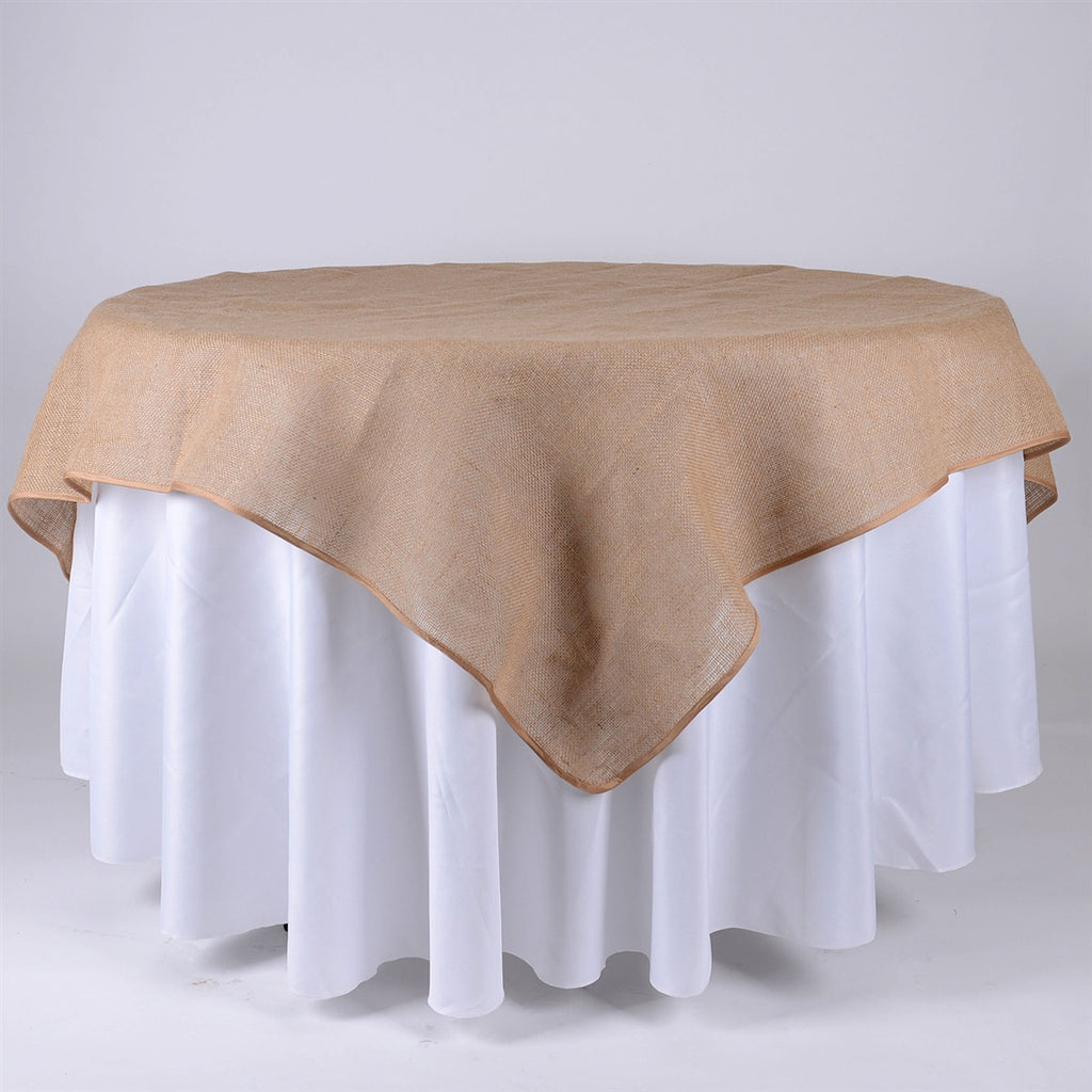 60x60 Inch Fine Rustic Jute Burlap Square Tablecloths- Ribbons Cheap