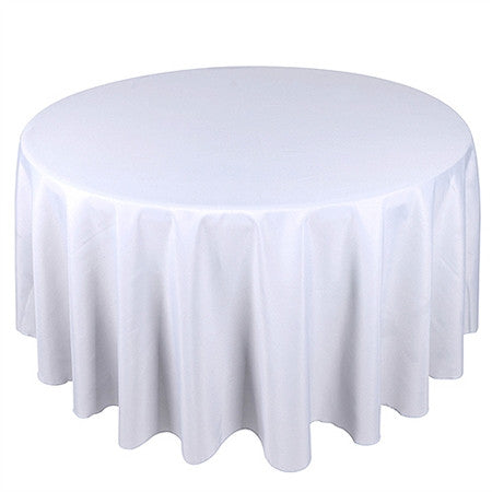 White 70 Inch Premium Polyester Round Tablecloths- Ribbons Cheap