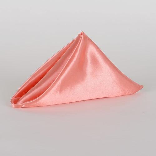 20 X 20 Inch Satin Napkins (Coral) - Pack Of 5
