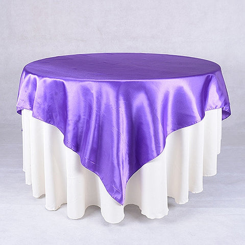 Purple  90 x 90 Satin Table Overlays  ( 90 Inch x 90 Inch )- Ribbons Cheap
