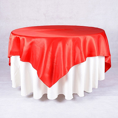 Red  90 x 90 Satin Table Overlays  ( 90 Inch x 90 Inch )- Ribbons Cheap