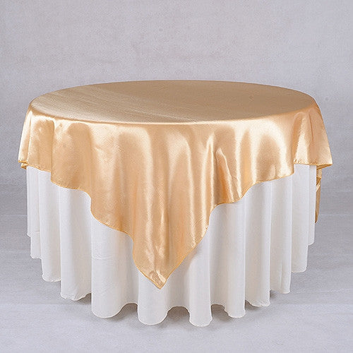 Old Gold  90 x 90 Satin Table Overlays  ( 90 Inch x 90 Inch )- Ribbons Cheap