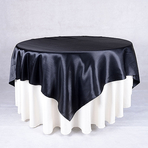 Black  90 x 90 Satin Table Overlays  ( 90 Inch x 90 Inch )- Ribbons Cheap