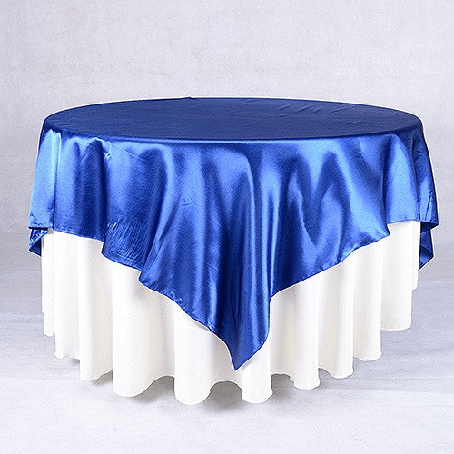 Navy  90 x 90 Satin Table Overlays  ( 90 Inch x 90 Inch )- Ribbons Cheap