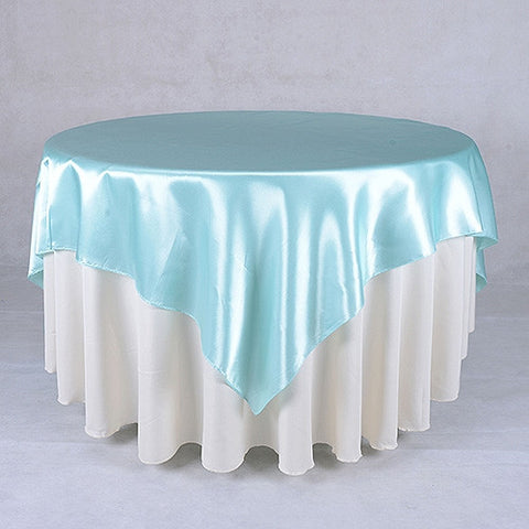 Aqua  90 x 90 Satin Table Overlays  ( 90 Inch x 90 Inch )- Ribbons Cheap