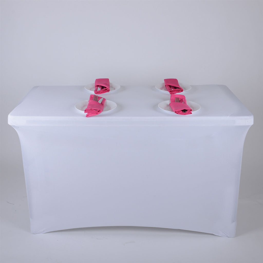 White 4 Ft Rectangular Spandex Table Cover- Ribbons Cheap