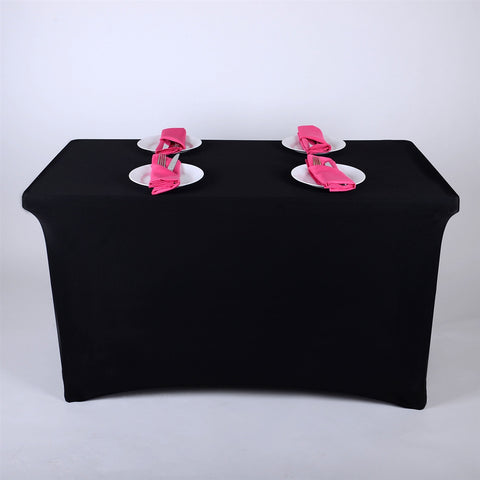 Black 4 Ft Rectangular Spandex Table Cover- Ribbons Cheap