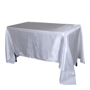 White 60 Inch x 102 Inch Rectangular Satin Tablecloths- Ribbons Cheap