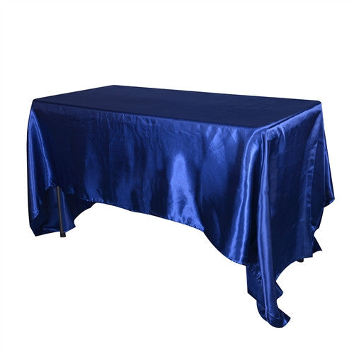 Navy Blue 60 Inch x 102 Inch Rectangular Satin Tablecloths- Ribbons Cheap