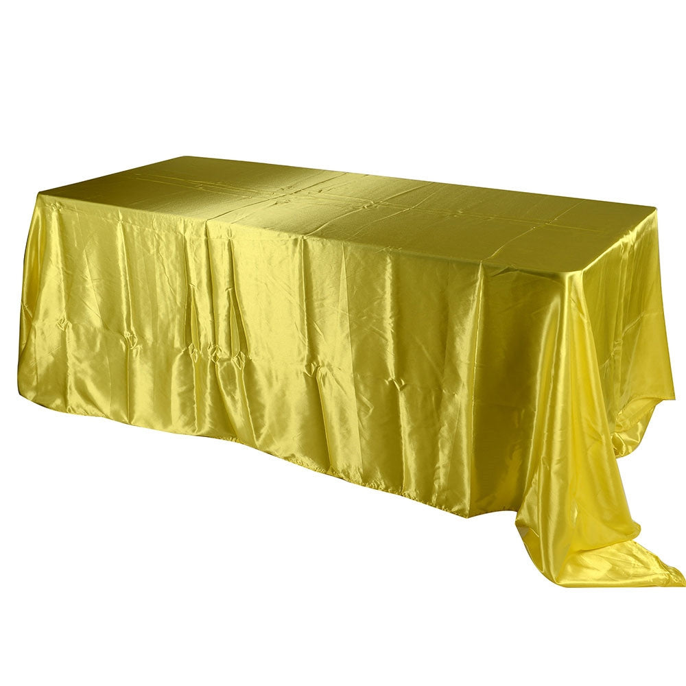 Daffodil 60 Inch x 126 Inch Rectangular Satin Tablecloths- Ribbons Cheap