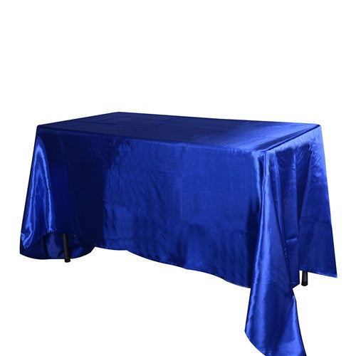 Royal Blue 60 Inch x 126 Inch Rectangular Satin Tablecloths- Ribbons Cheap